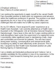 Cover Letter Healthcare Assistant by Health Care Assistant Cover Letter Sle