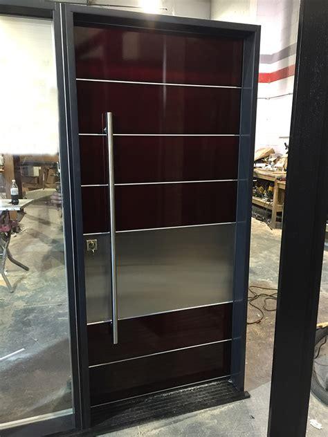Modern Aluminum Powder Coated Door With Stainless Steel Modern Aluminium Front Doors