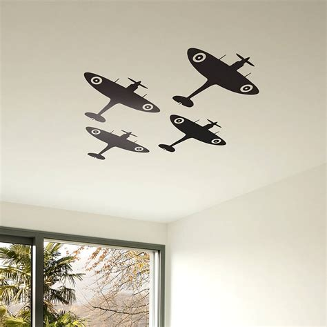 wall sticker vinyl spitfire vinyl wall sticker set by oakdene designs
