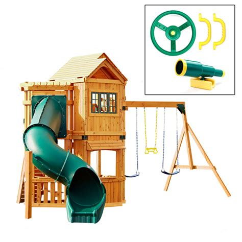 playhouse with swings swing set with slide playhouse swings kids outdoor new