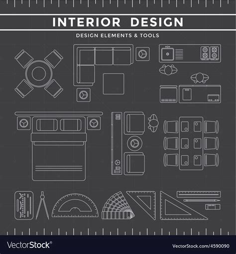 interior design elements vector interior design elements and tools on dark vector art