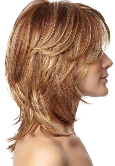 womens medium length layered razor cut hairstyle hairstyles for layered hair at medium length short