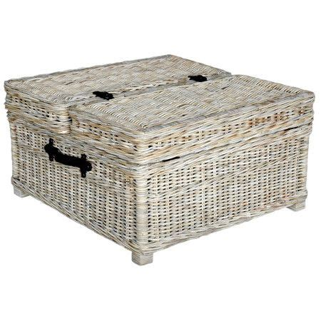 Wicker Coffee Table Storage Trunk Style Wicker Coffee Table With A Whitewashed Finish And Interior Storage Product Coffee