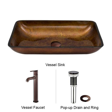 Vessel Sink Faucet Rubbed Bronze by Vigo Rectangular Glass Vessel Sink In Russet Glass With