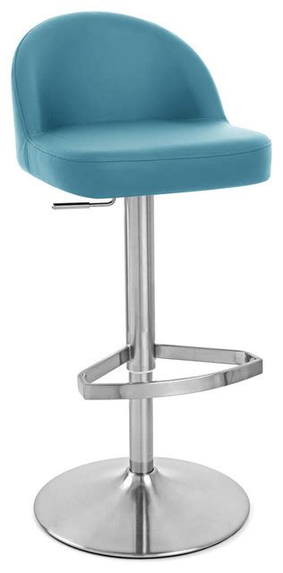 Teal Blue Bar Stools by Mimi Adjustable Height Swivel Armless Bar Stool Teal