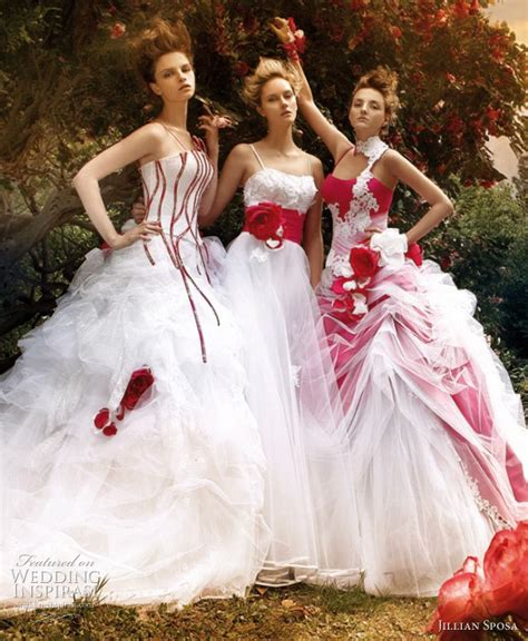 red white wedding dresses zoyage