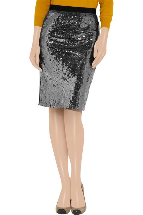 boutique moschino sequin pencil skirt in black lyst
