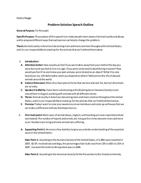 problem solution outline template problem solution speech outline