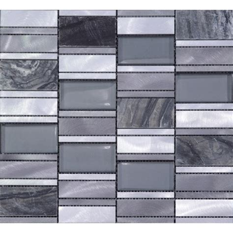 and glass mosaic sheets brushed aluminum metal wall