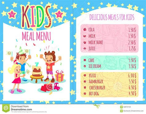 Kids Meal Menu Vector Template Brochure Stock Vector Illustration Of Graphic Girl 62872123 Birthday Menu Template