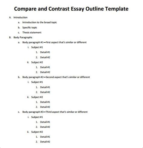 compare contrast thesis statement sample