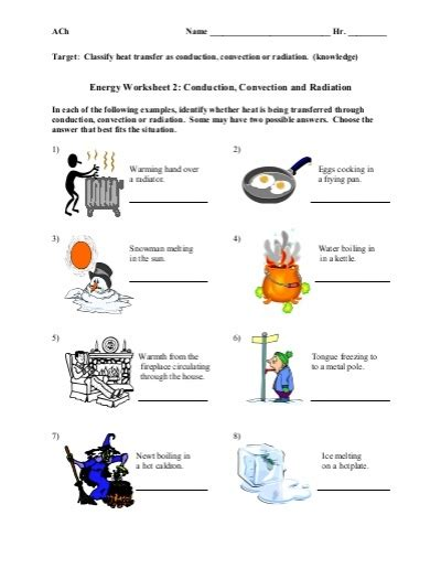 conduction convection radiation worksheet conduction