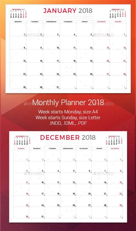 Monthly Planner 2018 Template Indesign Indd Calendar Templates Pinterest Calendar Design Indesign Planner Template 2018