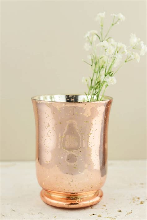 Mercury Glass Hurricane Vase by Blush Gold Mercury Glass Vase Candleholder 6in
