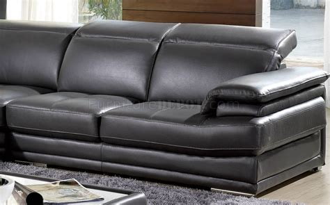 Dark Grey Full Genuine Italian Leather Modern Sectional Sofa