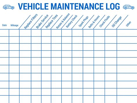 vehicle templates vehicle maintenance planner template vehicle ideas