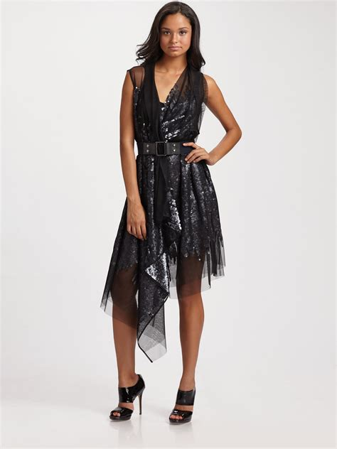 bcbgmaxazria sequined mesh wrap dress with belt in black