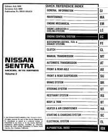 2001 nissan sentra cd rom repair shop manual