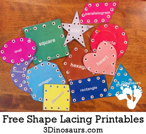 Free Printable Lacing Card Templates by Free Shape Lacing Printable 3 Dinosaurs