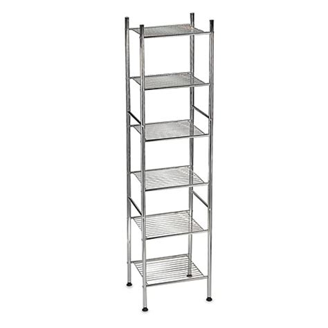 bathroom metal shelf 6 tier metal tower shelf in chrome bed bath beyond