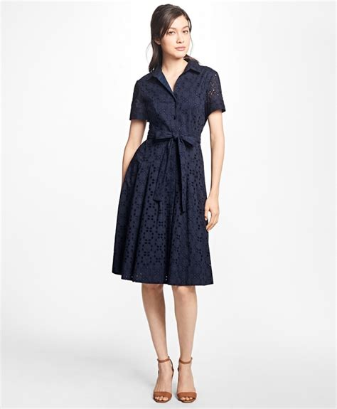 beatrice ii eyelet tie shirt navy cotton eyelet shirt dress brothers