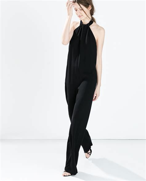 jumpsuit crepe zara js515 zara crepe jumpsuit with back bow in black lyst