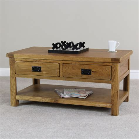 rectangle coffee table with drawers rustic oak rectangle coffee table with shelf 2 drawers