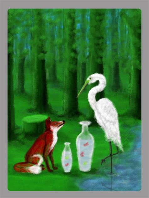the fox and the the fox and the crane by rchandra on