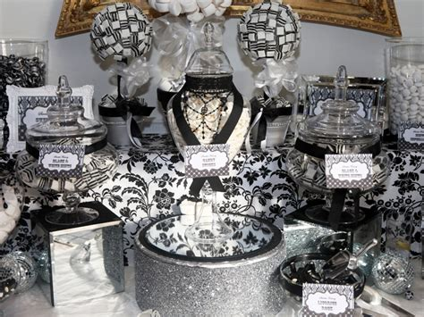 Candy Buffet In Black And White Candy Buffets L Sweetie Black And White Buffet