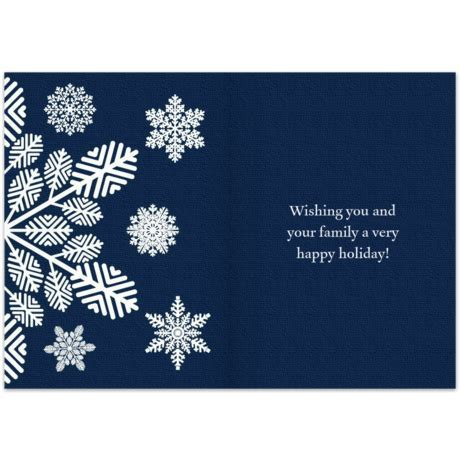Navy Blue Season's Greetings   Business Christmas Card