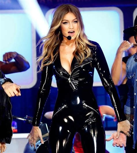 trish stratus jumpsuit celebrities in leather gigi hadid wears a black leather
