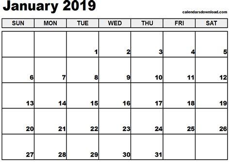 printable calendar january 2019 january 2019 printable calendar yearly printable calendar