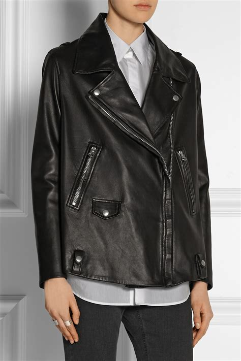 oversized black leather lyst acne studios light oversized leather biker