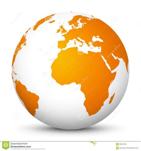 earthy orange white vector globe icon with orange continents planet
