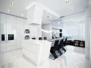 Modern Kitchen And Dining Room Design Futuristic Black And White Apartment
