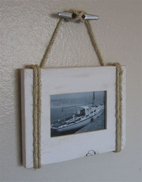 shabby chic nautical beach cottage 4x6 rope boat cleat picture frame in distressed whisper white