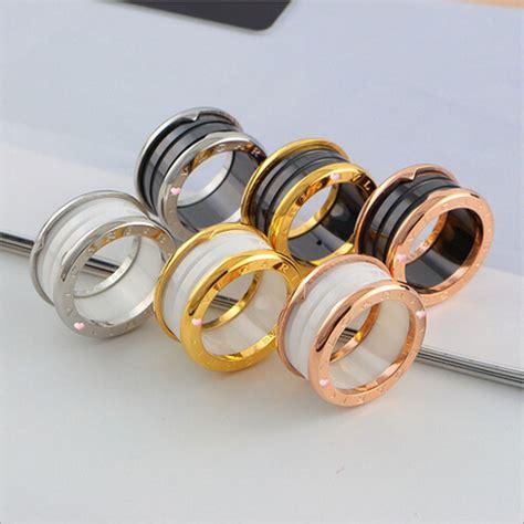 Ring Titanium Bvl 3 high quality black white ceramic bvl rings wedding ring for titanium steel 18k