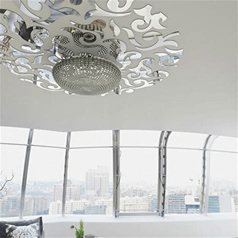 pattern mirror wall stickers yanqiao removable round mirrors wall stickers flower