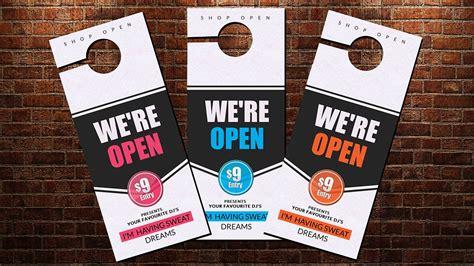 Shop Open Door Hanger Template Stationery Templates Creative Market Open House Door Hanger Template