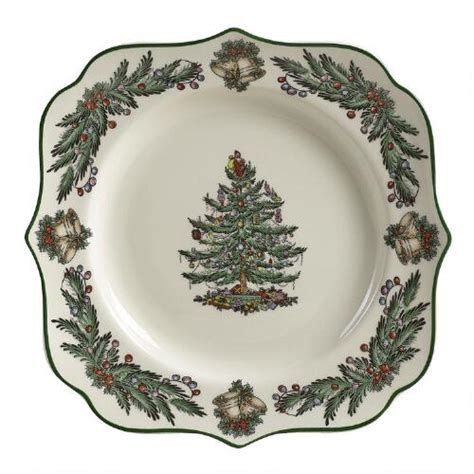 spode square christmas tree garland plate christmas tree
