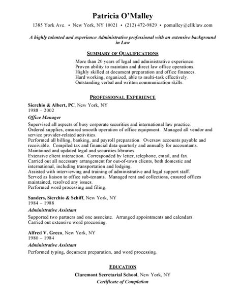 resume for office manager office administrator resume objective