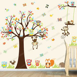 nursery tree wall stickers uk jungle animal owl monkey tree wall stickers decor mural decal nursery ebay
