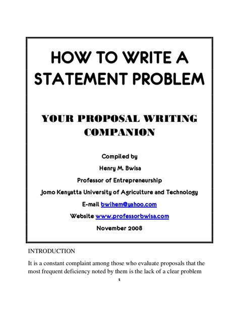 how to write a statement of objectives how to write a statement problem
