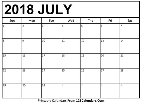 July Template Calendar printable july 2018 calendar templates 123calendars