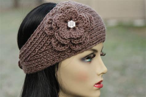 knit winter headband ear warmer headband wrap knit taupe