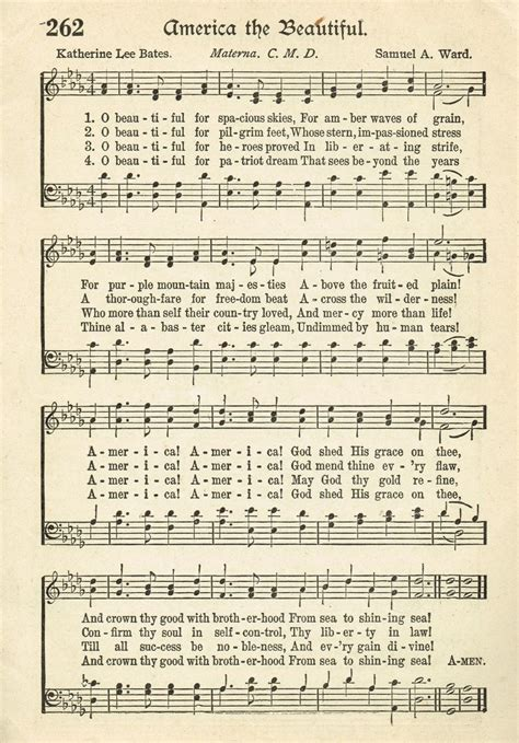 printable sheet music hymns sonday america the beautiful antique hymn page