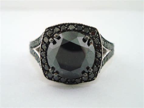 black diamond 4 35 carat fancy black diamond engagement ring 14k white gold