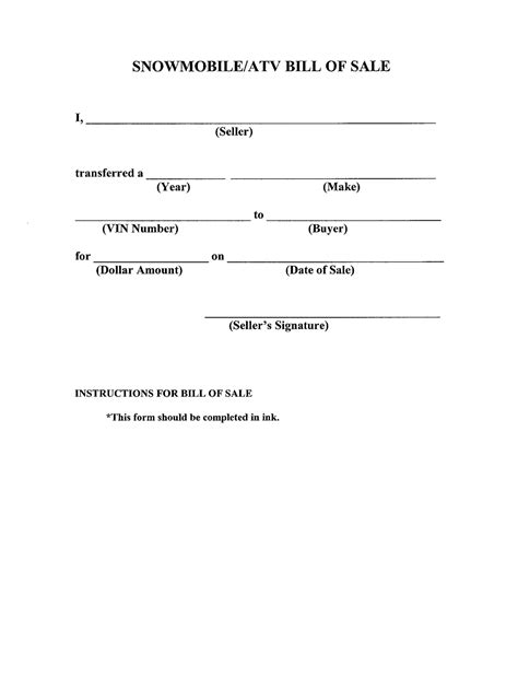 standard bill of sale template free printable bill of sale templates form generic