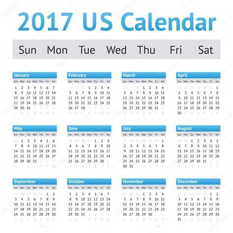 Calendario 2017 Estados Unidos Calendario De Ingl 233 S Americano De Estados Unidos 2017 La