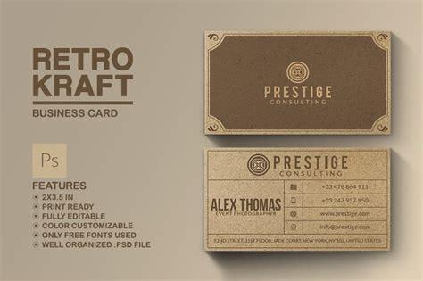 retro business cards templates free retro kraft business card business card templates on